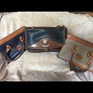 Dooney & Bourke 3 vintage bags. Tan, navy & black